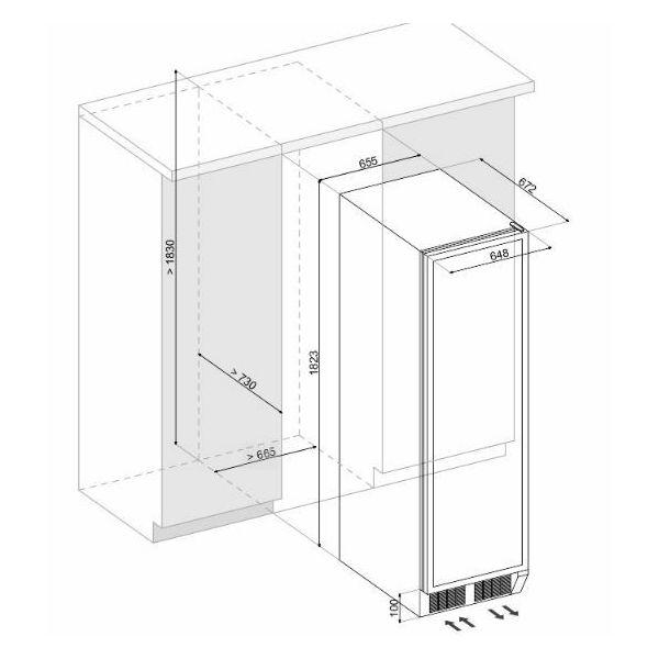 Hladnjak za vino ugradbeni Dunavox DX-170.490TBK