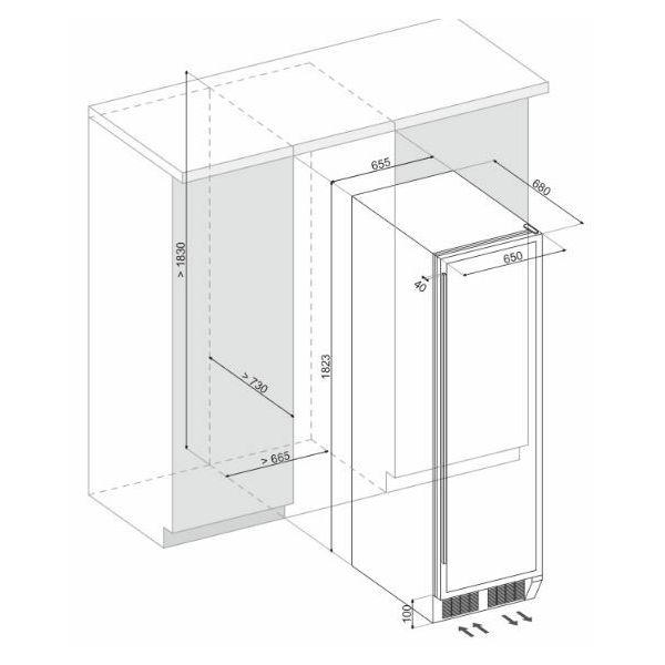 Hladnjak za vino ugradbeni Dunavox DX-194.490BK